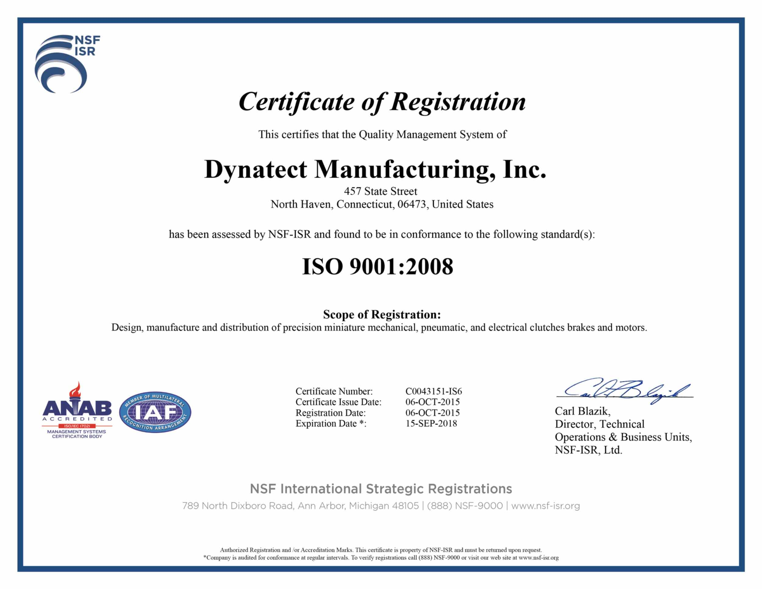 iso certificate Polyclutch iso